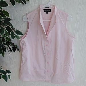 Jones New York light pink pop collar blouse